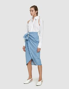 Denim skirt from KIMHĒKIM in Light Blue. Asymmetric hem with fringed edges. Work Fashion, Fashion Outfits, Womens Fashion, Denim Skirt, Midi Skirt, Club Outfits, Distressed Jeans, Stretch Denim, Casual Chic