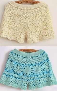 French Fashion Tips .French Fashion Tips Crochet Shorts Pattern, Crochet Pants, Crochet Skirts, Crochet Blouse, Crochet Clothes, Crochet Lace, Hand Crochet, Diy Shorts, Lace Shorts