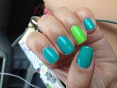 Blue and green shellac nails!