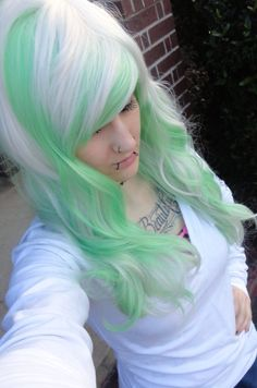white blonde and green wig// emo girl scene punk gothic raver // bangs // ombre long bangs // two tone//curly wavy on Etsy, $89.99