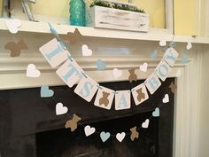 It's a BOY Banner Teddy Bear Baby Shower Decoration Shower It's A Girl Banner Teddy Bear Garland Custom Colors