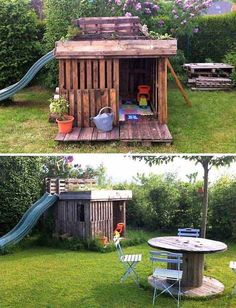 21 coole Paletten-Inspirationen, mit denen Kinder die Langeweile in den Ferien loswerden The summer is full of fun. 21 cool palette inspirations, with which children get rid of the boredom during the holidays Kids Garden Playhouse, Pallet Playhouse, Build A Playhouse, Playhouse Outdoor, Kids House Garden, Family Garden, Garden Club, Pallet Home Decor, Diy Pallet Projects