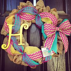 Burlap//Hot pink//Turquoise//Yellow//Chevron Wreath with center letter via Etsy