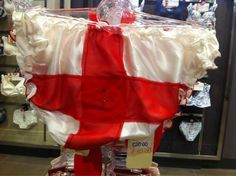 Thanks @glittrgirl on Twitter for sharing these lovely #stgeorgescross knickers with the red diamante cross right where your back passage aperture would be. John Lewis, Newcastle. Taken as part of the #unnecessaryunionjacks project to show that in England Union Jacks and English flags are obviously considered fair game for patriotic products, meanwhile, #saltires have virtually disappeared in Scotland. I think it is some comfort to English people that these are on sale because noone bought…