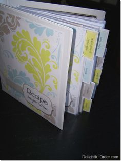 I have way more food recipes on paper than on pinterest I would love to make something like this to keep them organized.....