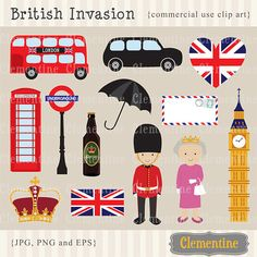 40% OFF SALE -London clip art, London clipart, crown clip art images, British clip art for commercial use- Instant Download