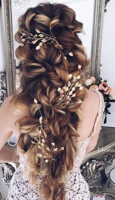 curly hairstyle with flowers