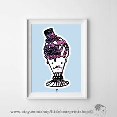 Ice cream Man in Blue Print. Size A2 Digital Download 8.68€. Printable artwork is a beautiful, quick and cost effective way of updating your art. Available on Etsy. ❤️🐻❤️