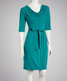 Take a look at this Teal Drape Dress on zulily today!
