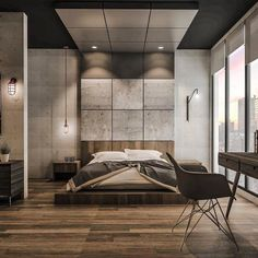 "9,144 Likes, 42 Comments - Interior Design (@design_interior_homes) on Instagram: ""Concrete & wood #bedroom design by Emanuel Viyantara . #luxury #luxuryhome #architect #luxuryhouse…"""
