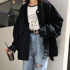 Edgy Outfits, Korean Outfits, Retro Outfits, Grunge Outfits, Cute Casual Outfits, Vintage Outfits, Fashion Outfits, Hijab Casual, Ootd Hijab