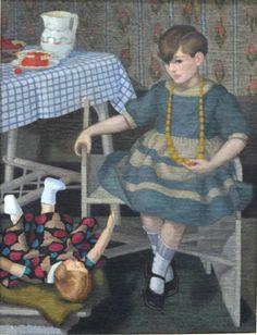 Girl with doll - Felice Casorati , 1929 Italian, 1883 -1963 Oil on canvas, 111 X 85 cm