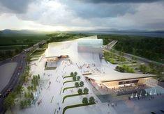 Sejong Art Center Winning Proposal,Courtesy of DMP Partners Public Architecture, Architecture Collage, Landscape Architecture Design, Architecture Visualization, Landscape Plans, Architecture Drawings, Architecture Portfolio, Futuristic Architecture, Concept Architecture