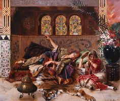 Harem; Orientalist; Female; Concubine; Concubines; Reclining; Women; Exotic; Eastern; Tiger Skin; Tigerskin; Traditional Costume Painting - In The Harem by Rudolphe Ernst