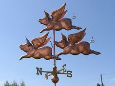 "COPPER ""THREE  PIGS"" WEATHERVANE  MADE IN USA #133"