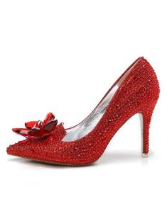 ed1423b27f75 Glitter Crystal Red Low Heel Bridal Shoes With Floral Bow 2018  ALA-6804 -  GemGrace.com