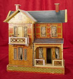 "23"" Large German two-story wooden dollhouse by Gottschalk 800/1200 