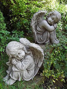 #Resting #angels pair hand cast stone garden ornament #angel statue #⧫onefold-uk,  View more on the LINK: http://www.zeppy.io/product/gb/2/281919811202/