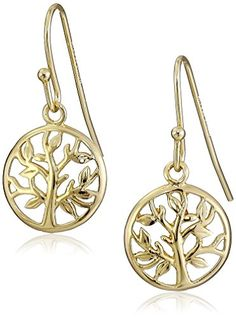 14k Gold Plated Sterling Silver Tree of Life Drop Earrings Amazon Collection-$19.13 http://www.amazon.com