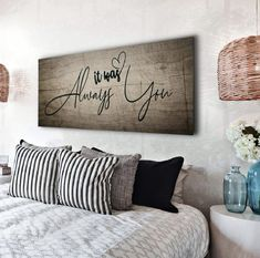 diy home decor bedroom couples Couples Wall Art: It Was Always You (Wood Frame Ready To Hang) - Sense Of Art Decoration Bedroom, Diy Home Decor Bedroom, Bedroom Wall, Couple Bedroom Decor, Bed Room, Baby Bedroom, Signs For The Bedroom, Living Room Wall Decor Diy, Diy Wall Decorations