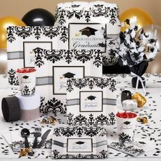Black and white graduation party theme
