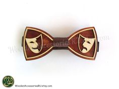 Wood bow tie with Theatrical masks Sad and by WoodenAccessoriesRU