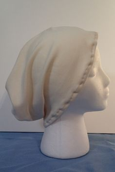 Mens Slouchy Beanie, Female Slouchy Beanie, Cream Jersey Soft Knit Chemo Hat Hair Loss Cover Up Male Hat Full Hat Turban One Size fits Most by EzAdultCareProducts on Etsy