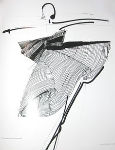 Gorgeous Doodle  (Gianfranco Ferre, Ink on paper, Haute Couture 1987)