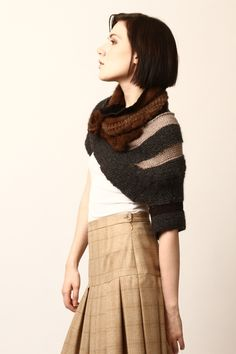 Knit Over Shoulder Shrug with Mink Collar