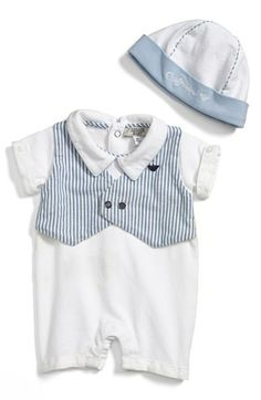 Armani Junior Romper & Hat (Baby Boys) available at #Nordstrom