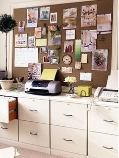 Love the row of file cabinets for lots of organizing. Maybe diy with plywood top covered in pretty fabric.