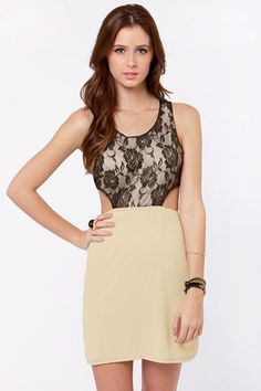 Lace-in' Learned Black and Beige Lace DressLove it!