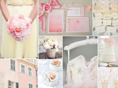 pastel pink and yellow wedding color inspiration
