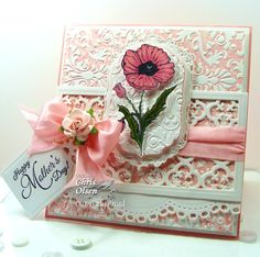 Card using Darice Fleur de Lis Embossing folder from Our Daily Bread Designs, Chris Olsen, Happy Mother's Day, Mother's Day with Quatrefoil Pattern Die Mothers Day Cards, Happy Mothers Day, Heartfelt Creations Cards, Shine The Light, Quatrefoil Pattern, Shabby Chic Cards, Cardmaking And Papercraft, Paper Decorations, Flower Cards