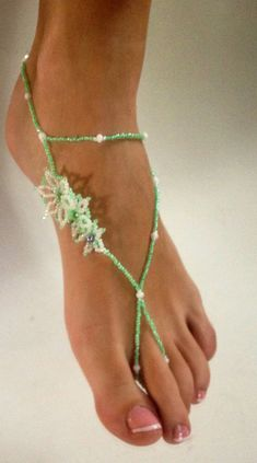 Delicate Floral Barefoot Sandals Mint Green Flower Bridal Destination Wedding Shoes Anklet Foot Thong Foot Jewelry