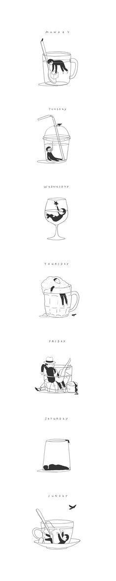 Week of sleeping cups, Иллюстрация © Илья Казаков