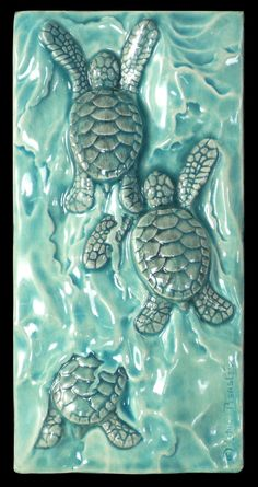 "Ceramic tile, sculpture, baby sea turtle, Body Surfing, 3""x6"", animal sculpture, tile"