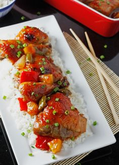 baked sweet and sour chicken- generous on the cider vinegar as it should be!