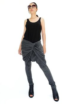 NO.183 Heather Grey Rayon Spandex Stylish Twist Front Pants, Drop Crotch Tapered Trousers, Women's Pants
