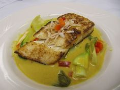 Seared Halibut with Braised Baby Bok Choy and Thai Coconut Curry Broth