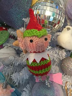 Free Baby Patterns, Knitting Patterns Free, Free Knitting, Knitted Christmas Decorations, Christmas Tree Ornaments, Christmas Diy, Paintbox Yarn, Christmas Knitting, Free Baby Stuff