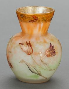 A DAUM ACID ETCHED GLASS CABINET VASE, Nancy, France, circa 1900 Marks: Daum, Nancy 3-1/8 inches high