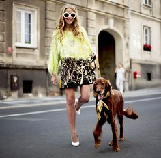 girl dog street style