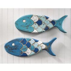wooden fish plaques set of two 29 this set of primitive style folk art fish adds an exotic aquatic touch to your decor handcrafted in bali of natural weathered wood this charming duo is painted - Wood Design Fish Wall Decor, Fish Wall Art, Fish Art, Fish Fish, Fish Crafts, Beach Crafts, Clay Crafts, Driftwood Crafts, Wooden Crafts