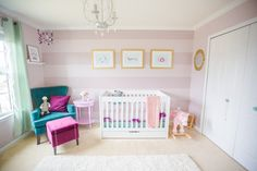 Purple and Mauve Striped Nursery with Teal Accents
