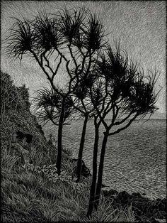 by Rachel Newling #landscape #tree #art