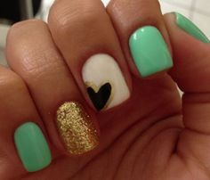 Mint green, white and gold nails