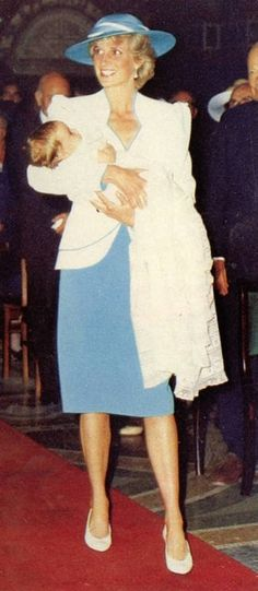 1986-07-10 Diana holds her godson, Prince Philippos Of Greece and Denmark, after his Christening at the Greek Orthodox Cathedral of St Sophia in London