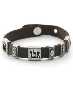 Brown Leather Bracelet With Protective Silver And Crystal Charms