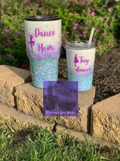 Mommy and mini glitter tumblers, dance Mom, tiny dancer, purple ombre' kids cup with matching Mom cu